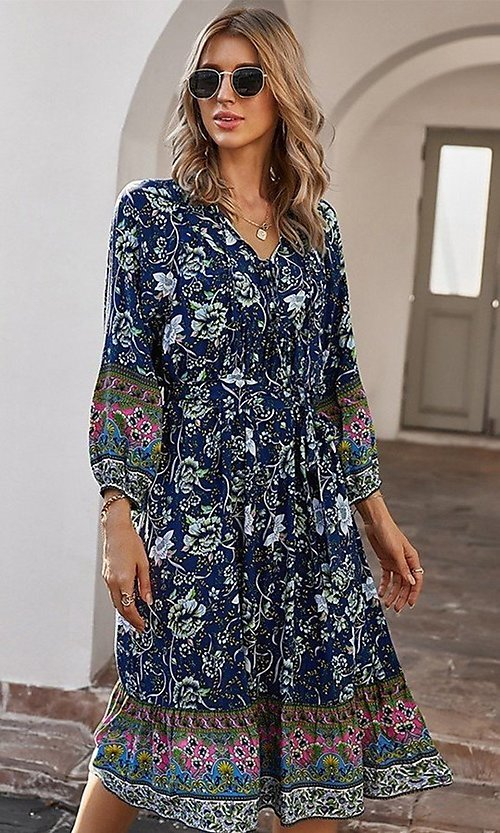 Image of knee-length print modest casual party dress. Style: LAS-ESL-21-49363DDY Detail Image 4