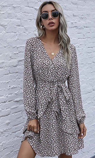 Long Sleeve V-Neck Print Short Casual Wrap Dress