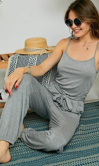 Heather Gray One Piece Casual Jumpsuit