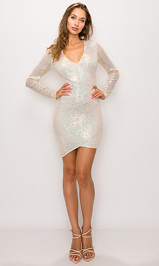 Opal Short Sequin Long Sleeve Cocktail Party Dress