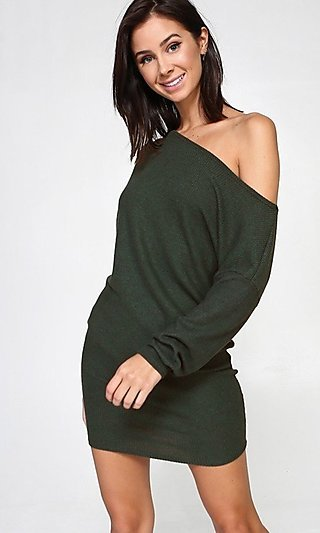 Olive Green Casual Off-Shoulder Sweater Dress