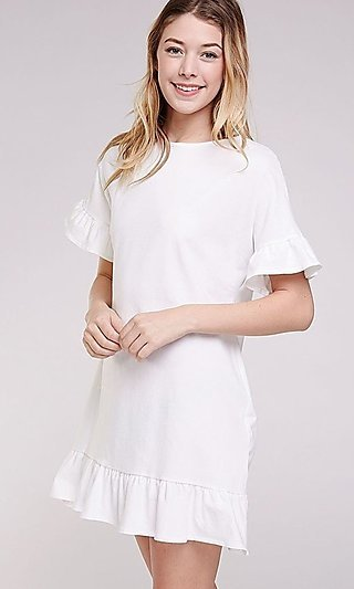 Short Casual Ruffle Short Sleeve and Hemline Dress