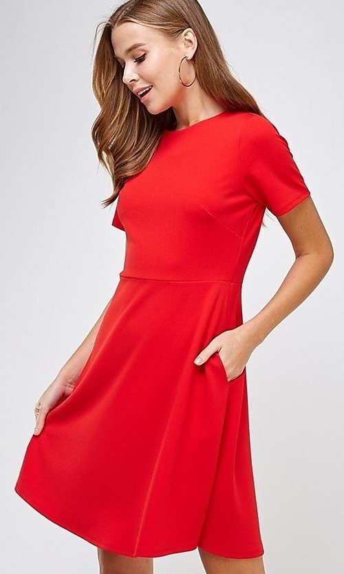 Image of short sleeve semi-formal short little red dress. Style: LAS-2H-21-D3047 Front Image