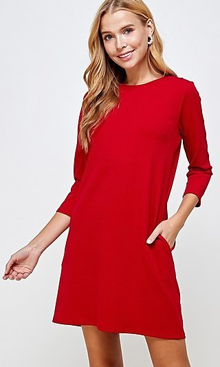 Red Career Short Shift Dress with Pockets