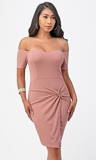 Short Off-the-Shoulder Front Twist Party Dress
