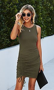 Image of sleeveless short casual party dress with ruching. Style: LAS-MVT-21-LQ322S4271 Detail Image 1