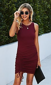 Image of sleeveless short casual party dress with ruching. Style: LAS-MVT-21-LQ322S4271 Front Image