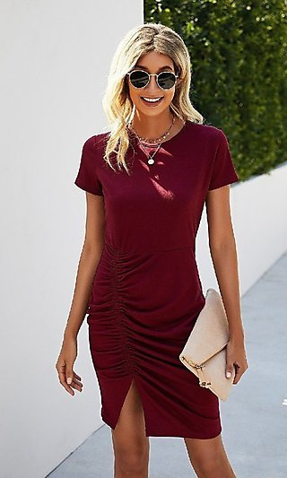 Short Sleeve Casual Day-to-Night Ruched Dress