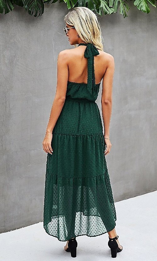 Image of Swiss dot casual halter midi dress with tiers. Style: LAS-MVT-21-LQ323S6190 Detail Image 2