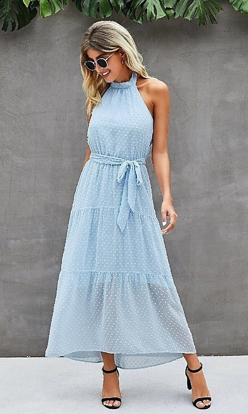 Image of Swiss dot casual halter midi dress with tiers. Style: LAS-MVT-21-LQ323S6190 Front Image