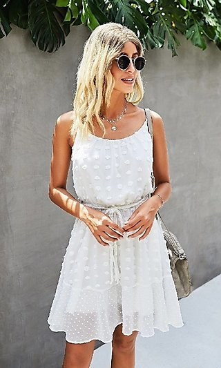 Short Casual Party Dress with Waist Tie