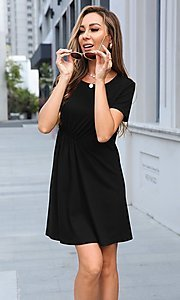 Image of short simple short sleeve casual dress. Style: LAS-MVT-21-XHAM2273A Detail Image 2