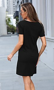 Image of short simple short sleeve casual dress. Style: LAS-MVT-21-XHAM2273A Detail Image 3