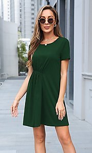 Image of short simple short sleeve casual dress. Style: LAS-MVT-21-XHAM2273A Detail Image 1