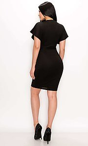 Image of front-tie flutter sleeve v-neck short party dress. Style: LAS-PRI-21-PD75245N Detail Image 7