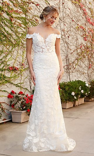 White Long Embroidered Illusion-Bodice Dress