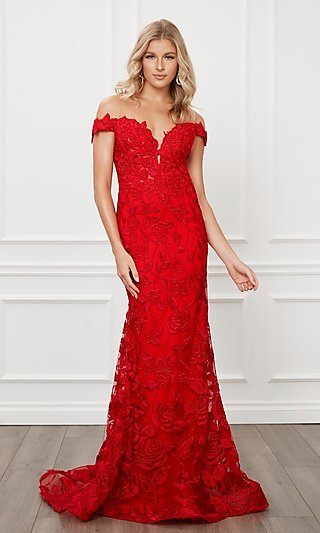 Red Lace Off-the-Shoulder Mermaid Prom Dress