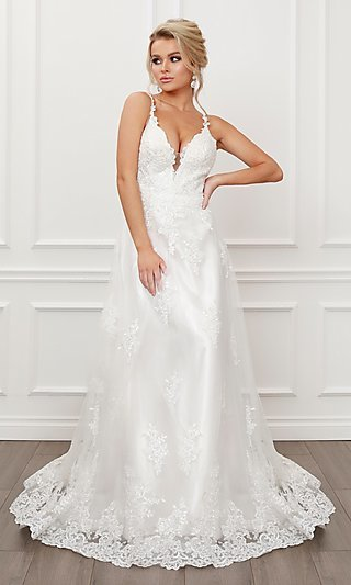 White Lace V-Neck Formal Ball Gown