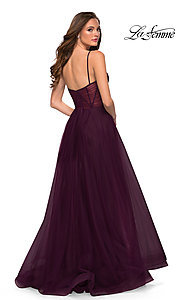 Image of long La Femme sheer-bodice prom dress with pockets. Style: LF-21-29076 Back Image