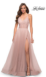 Image of long La Femme sheer-bodice prom dress with pockets. Style: LF-21-29076 Detail Image 1