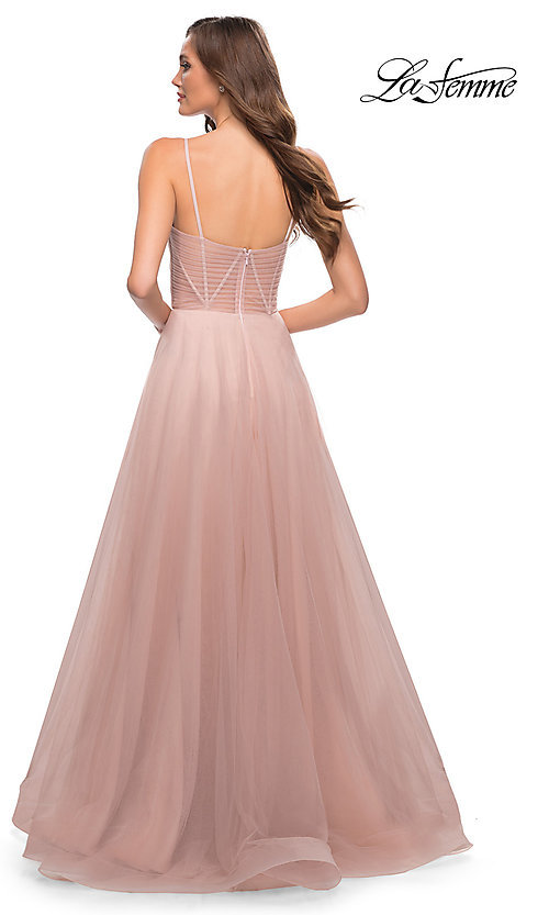 Image of long La Femme sheer-bodice prom dress with pockets. Style: LF-21-29076 Detail Image 2