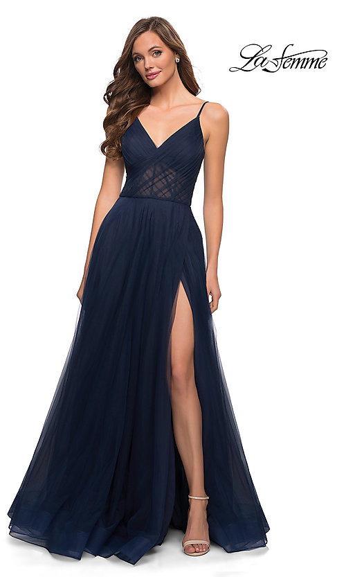 Image of long La Femme sheer-bodice prom dress with pockets. Style: LF-21-29076 Front Image