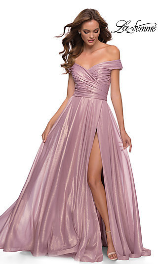 Pink Metallic Off-the-Shoulder La Femme Prom Dress