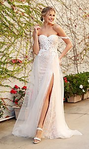 Image of white embellished long lace prom dress with tulle. Style: NA-21-E441 Front Image