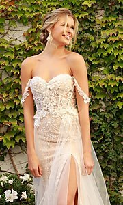 Image of white embellished long lace prom dress with tulle. Style: NA-21-E441 Detail Image 2