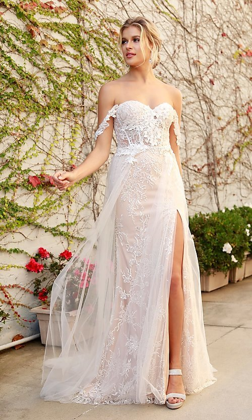 Image of white embellished long lace prom dress with tulle. Style: NA-21-E441 Detail Image 1