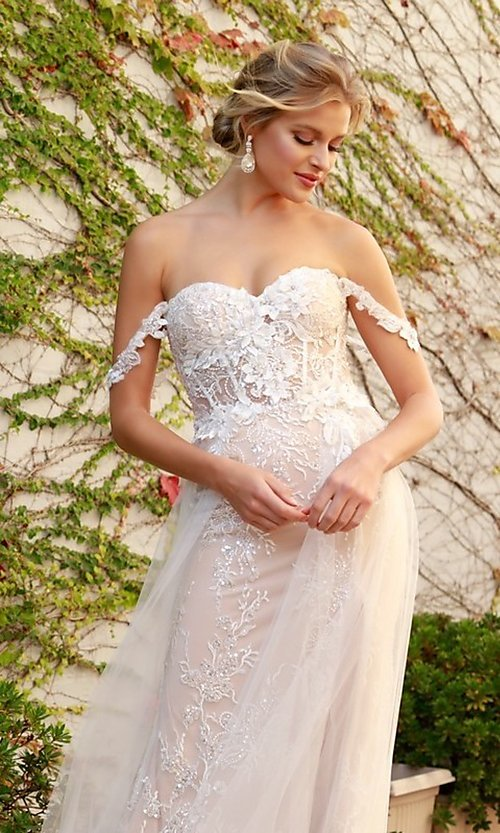 Image of white embellished long lace prom dress with tulle. Style: NA-21-E441 Detail Image 3
