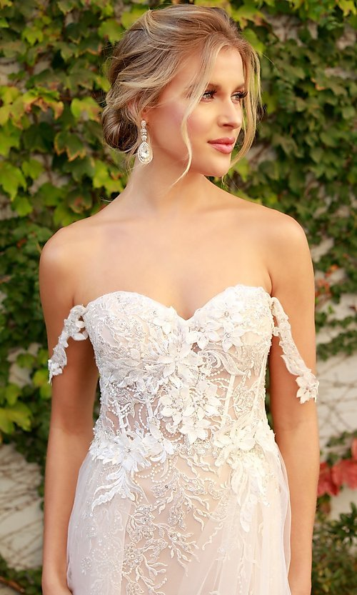 Image of white embellished long lace prom dress with tulle. Style: NA-21-E441 Detail Image 4