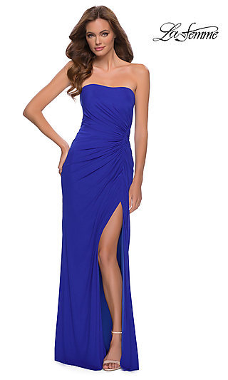 Strapless Ruched Long La Femme Prom Dress 29489