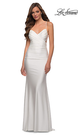 Cross-Front Ruched Long Jersey Prom Dress 29606