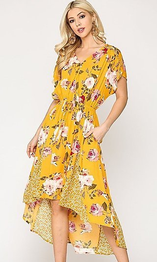 Casual A-Line High-Low Mix-Matched Print Dress