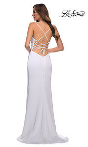 Image of long La Femme prom dress with strappy back. Style: LF-21-29615 Detail Image 4