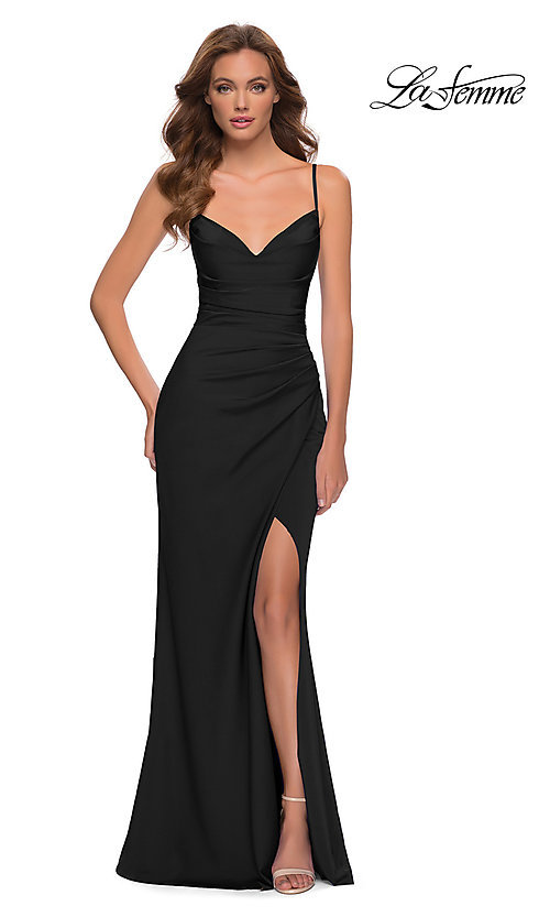 Image of long La Femme prom dress with strappy back. Style: LF-21-29615 Detail Image 1