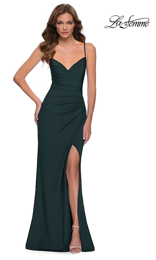 Image of long La Femme prom dress with strappy back. Style: LF-21-29615 Detail Image 2