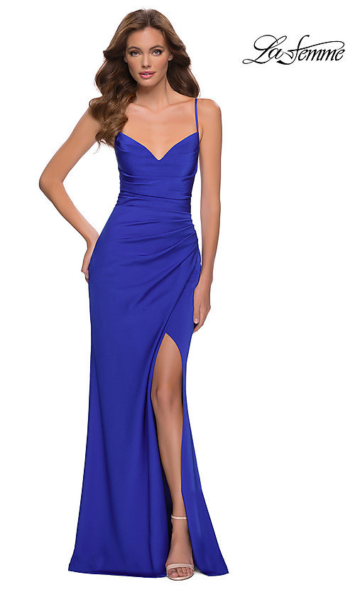 Image of long La Femme prom dress with strappy back. Style: LF-21-29615 Front Image