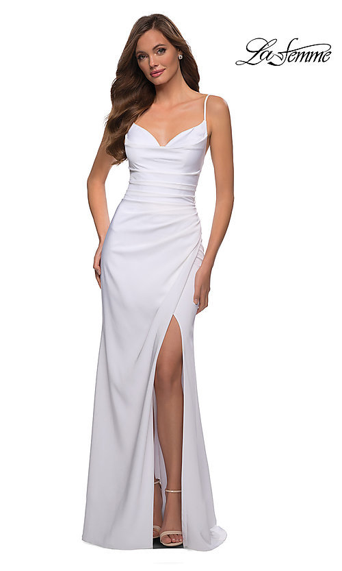 Image of long La Femme prom dress with strappy back. Style: LF-21-29615 Detail Image 3