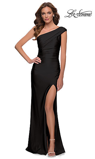 La Femme Long One-Shoulder Formal Prom Dress