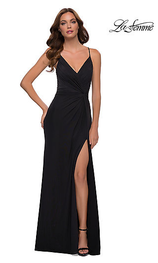 Front Knot Ruched Long La Femme Prom Dress 29624