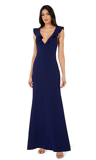 Ruffle V-Neck Simple Long Prom Dress 10982 by Jump