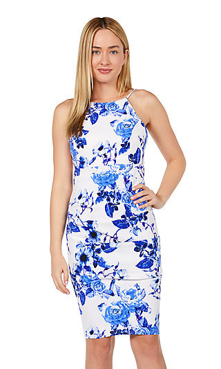 Blue & White Print Knee-Length Party Dress by Jump