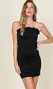 Image of strapless ruffle-trim short casual bodycon dress. Style: LAS-CAP-21-ED10530 Detail Image 1