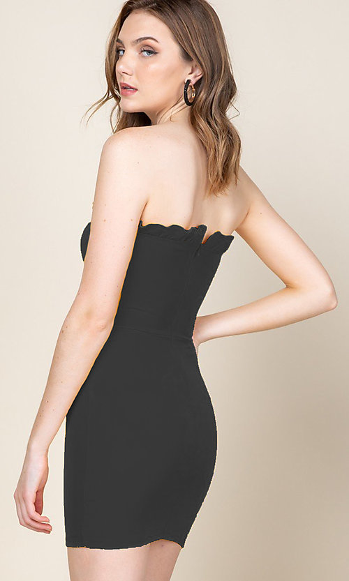 Image of strapless ruffle-trim short casual bodycon dress. Style: LAS-CAP-21-ED10530 Detail Image 2