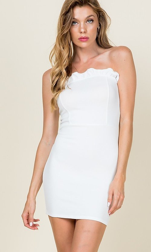 Image of strapless ruffle-trim short casual bodycon dress. Style: LAS-CAP-21-ED10530 Front Image