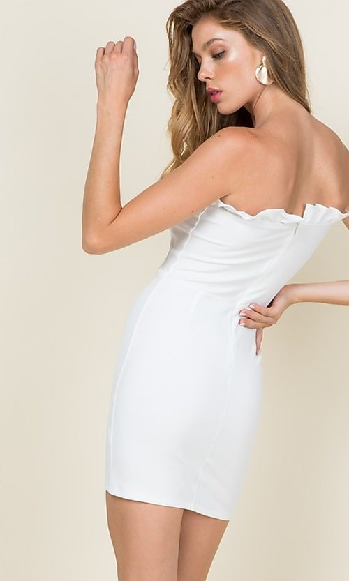 Image of strapless ruffle-trim short casual bodycon dress. Style: LAS-CAP-21-ED10530 Back Image