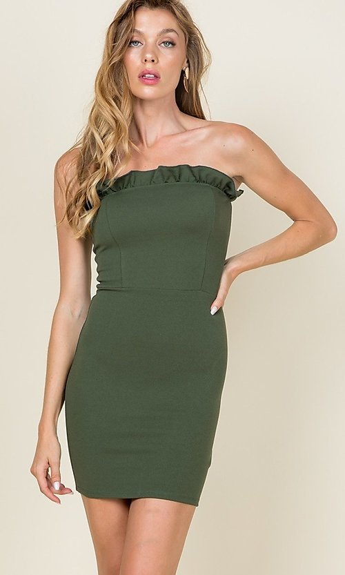 Image of strapless ruffle-trim short casual bodycon dress. Style: LAS-CAP-21-ED10530 Detail Image 3