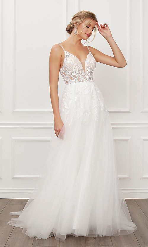 Image of long white formal prom dress with illusion bodice. Style: NA-21-E442 Front Image